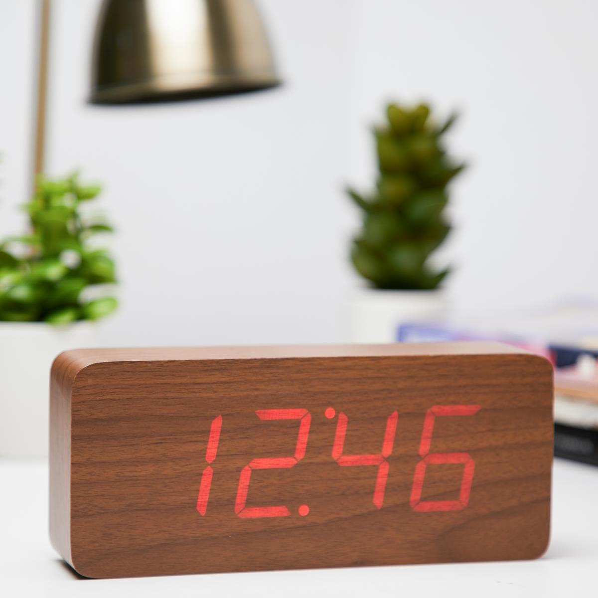 Checkmate LED Big Wood Cuboid Desk Clock Red 21cm VGY 6602R 11