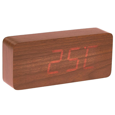 Checkmate LED Big Wood Cuboid Desk Clock Red 21cm VGY 6602R 12
