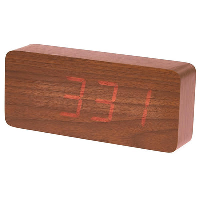 Checkmate LED Big Wood Cuboid Desk Clock Red 21cm VGY 6602R 15