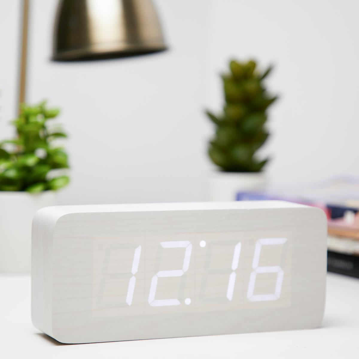 Checkmate LED Big Wood Cuboid Desk Clock White 21cm VGY 6602W 11