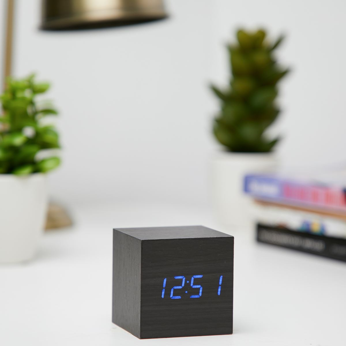 Checkmate LED Wood Cube Desk Clock Blue 6cm VGY 808B 11