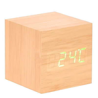 Checkmate LED Wood Cube Desk Clock Green 6cm VGY 808G 12