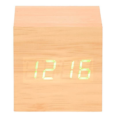 Checkmate LED Wood Cube Desk Clock Green 6cm VGY 808G 14