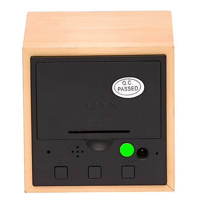 Checkmate LED Wood Cube Desk Clock Green 6cm VGY 808G 15
