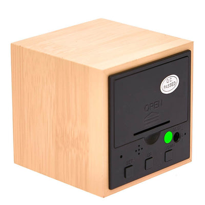 Checkmate LED Wood Cube Desk Clock Green 6cm VGY 808G 16