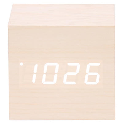 Checkmate LED Wood Cube Desk Clock White 7cm VGY 808W 12