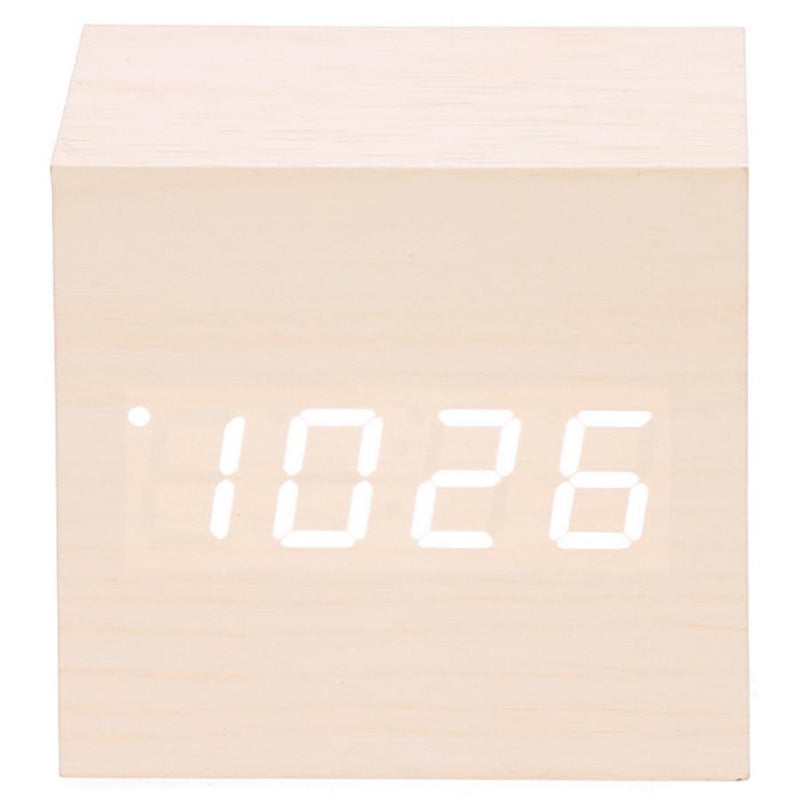 Checkmate LED Wood Cube Desk Clock White 7cm VGY 808W 11