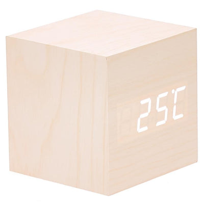 Checkmate LED Wood Cube Desk Clock White 7cm VGY 808W 13