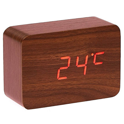 Checkmate LED Wood Cuboid Desk Clock Red 10cm VGY 818R 12