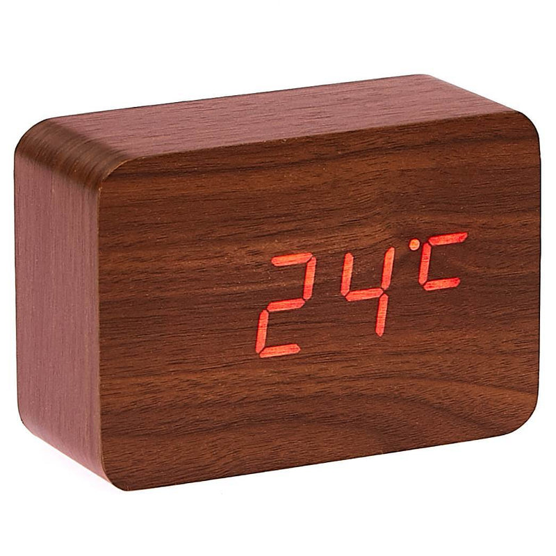 Checkmate LED Wood Cuboid Desk Clock Red 10cm VGY 818R 11