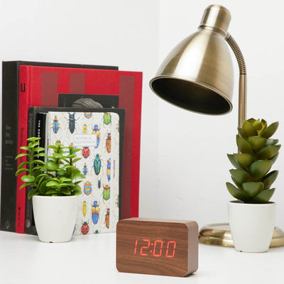 Checkmate LED Wood Cuboid Desk Clock Red 10cm VGY 818R 13