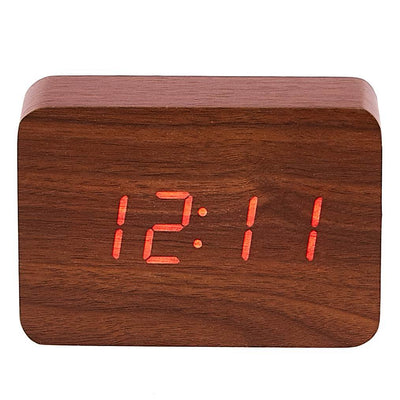 Checkmate LED Wood Cuboid Desk Clock Red 10cm VGY 818R 14