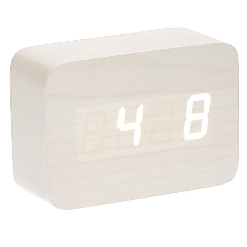 Checkmate LED Wood Cuboid Desk Clock White 10cm VGY 818W 11