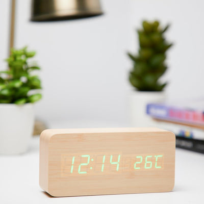 Checkmate LED Wood Cuboid Temperature Desk Clock Green 15cm VGY 838G 11