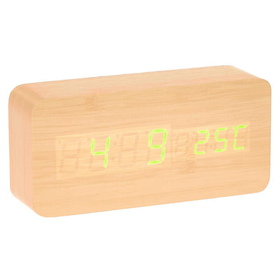 Checkmate LED Wood Cuboid Temperature Desk Clock Green 15cm VGY 838G 12