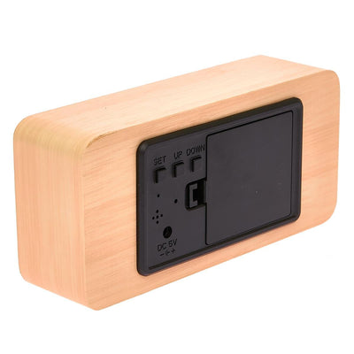 Checkmate LED Wood Cuboid Temperature Desk Clock Green 15cm VGY 838G 16