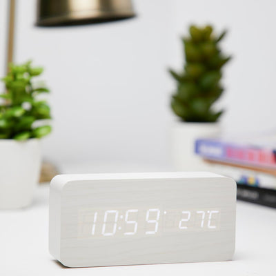Checkmate LED Wood Cuboid Temperature Desk Clock White 15cm VGY 838W 11