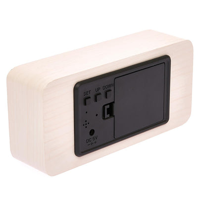 Checkmate LED Wood Cuboid Temperature Desk Clock White 15cm VGY 838W 15