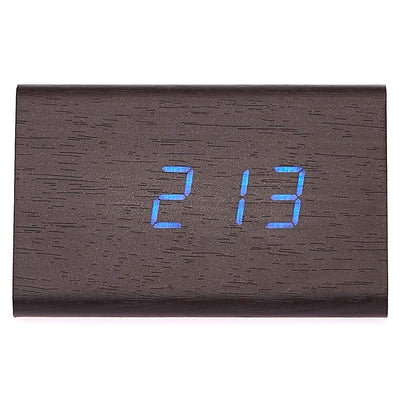 Checkmate LED Wood Tri Bar Desk Clock Blue 12cm VGY 828B 14