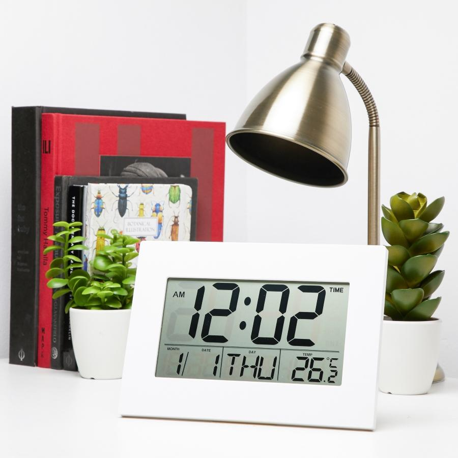 Checkmate Warren Calendar Digital Wall & Alarm Clock, 23cm
