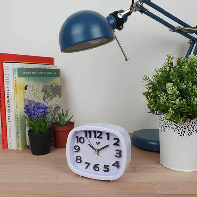 Victory Abigail 3D Number Alarm Clock White 12cm TTD 6199 WHI 2