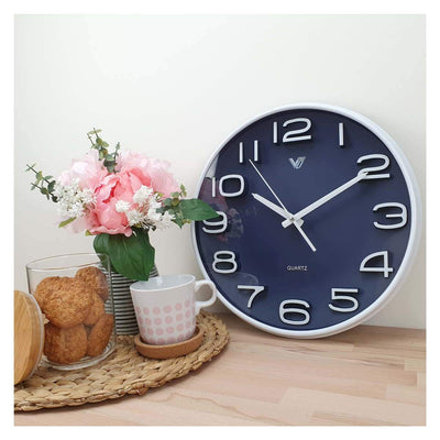 Victory Adelyn 3D Number Wall Clock Blue 33cm CWH 6711 BLU 5