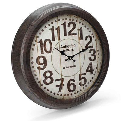 Victory Antique Paris Vintage Metal Wall Clock Distressed Brown 47cm CHH 551 1