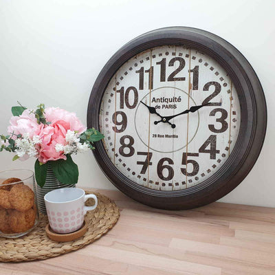 Victory Antique Paris Vintage Metal Wall Clock Distressed Brown 47cm CHH 551 2
