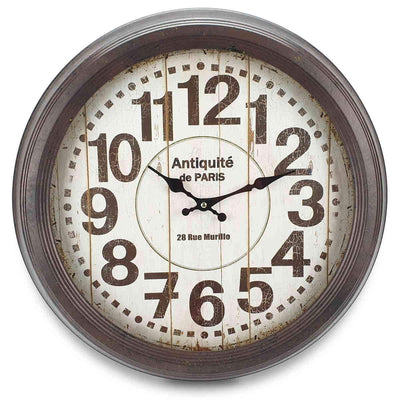 Victory Antique Paris Vintage Metal Wall Clock Distressed Brown 47cm CHH 551 3