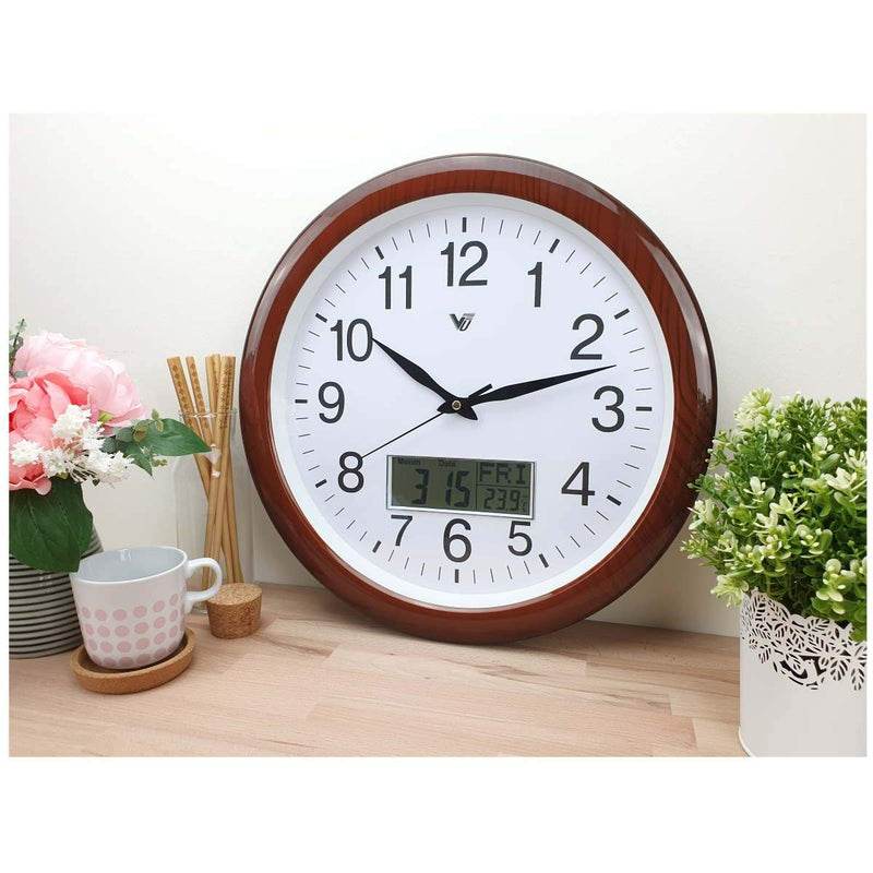 Victory Benson Analogue with Digital Calendar Temperature Wall Clock 41cm CBL 1038 1