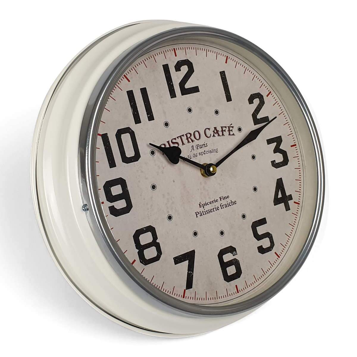 Victory Bistro Cafe Classic Metal Wall Clock White 31cm CHH 633 1
