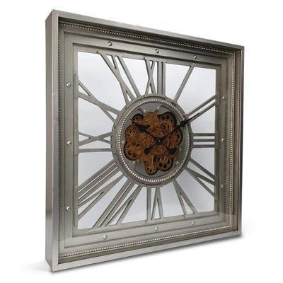 Victory Boreas Metal Extra Large Square Moving Gears Wall Clock Silver 80cm CCM 7024 1