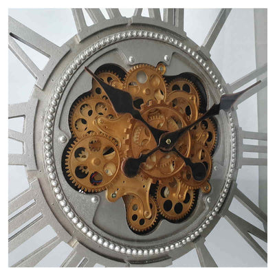 Victory Boreas Metal Extra Large Square Moving Gears Wall Clock Silver 80cm CCM 7024 5