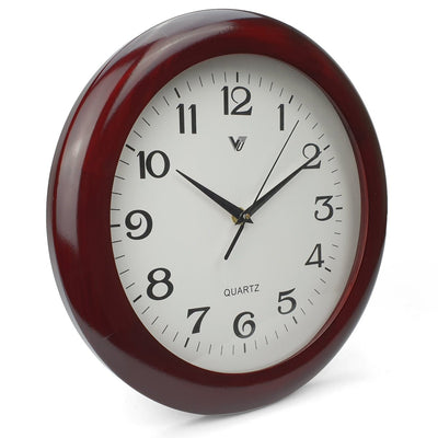 Victory Braxton Shiny Wooden Wall Clock Dark Brown 31cm CFR 298 1