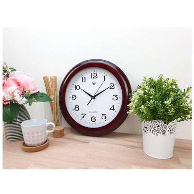 Victory Braxton Shiny Wooden Wall Clock Dark Brown 31cm CFR 298 2