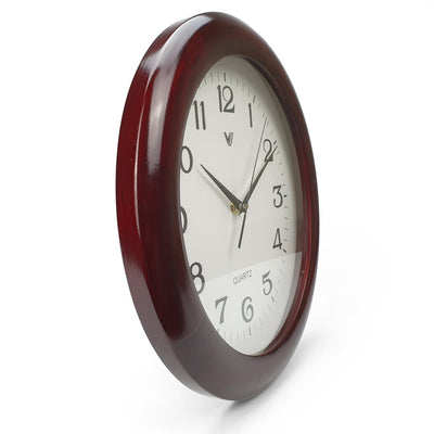 Victory Braxton Shiny Wooden Wall Clock Dark Brown 31cm CFR 298 4