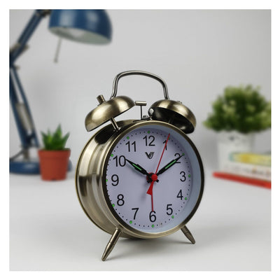 Victory Brenda Mechanical Twin Bell Alarm Clock Dark Brushed Gold 17cm Q 817 GOL 3