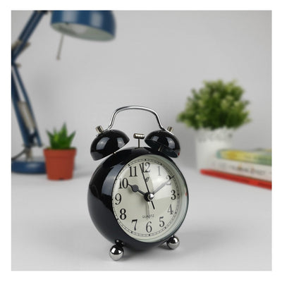 Victory Briar Bubble Twin Bell Alarm Clock Black 13cm Q 858B 3