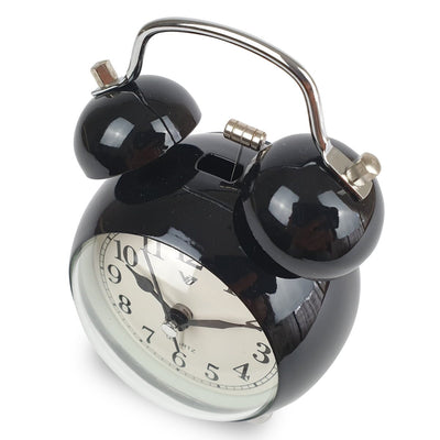 Victory Briar Bubble Twin Bell Alarm Clock Black 13cm Q 858B 4