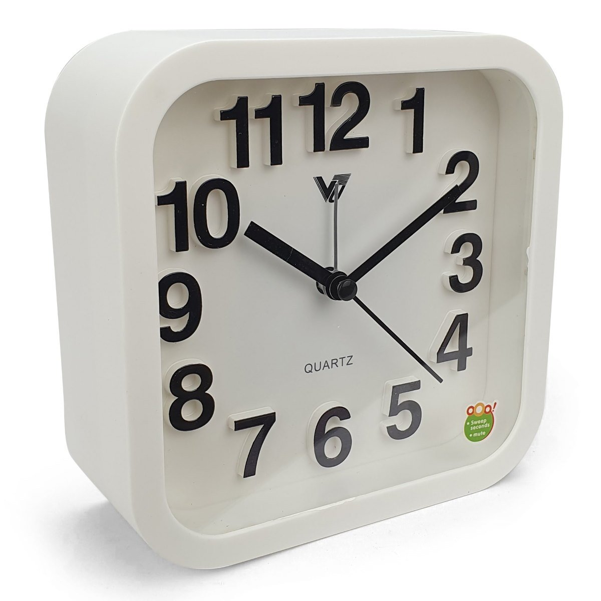 Victory Callen 3D Numbers Big Solid Square Alarm Clock White 13cm TMH 454 WHI 5
