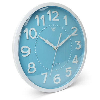 Victory Cayden 3D Numbers Domed Wall Clock Blue 31cm CWH 6249 BLU 1