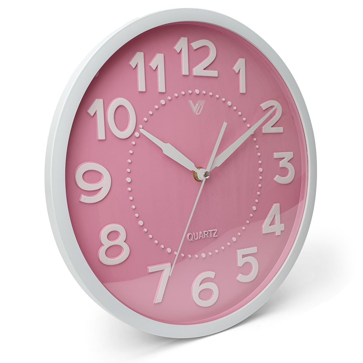 Victory Cayden 3D Numbers Domed Wall Clock Pink 31cm CWH 6249 PIN 1