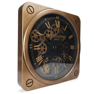 Victory Champs Elysees Square Moving Gears Wall Clock Bronze 49cm CCM 7033 1
