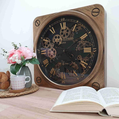 Victory Champs Elysees Square Moving Gears Wall Clock Bronze 49cm CCM 7033 2