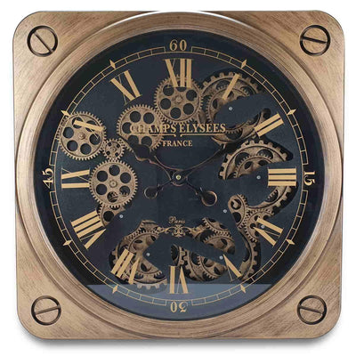 Victory Champs Elysees Square Moving Gears Wall Clock Bronze 49cm CCM 7033 3