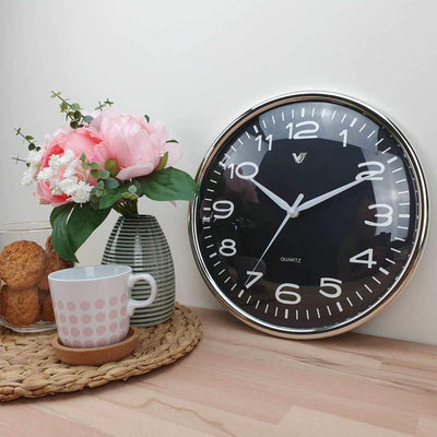 Victory Colson Shiny Frame Domed Face Wall Clock Black 31cm CCL 1065 BLA 2