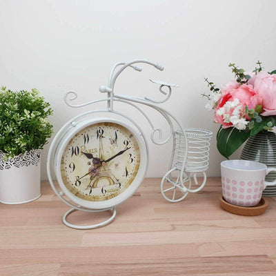 Victory Cullen Artistic Metal Bicycle Desk Clock White 32cm TAA 105W 2