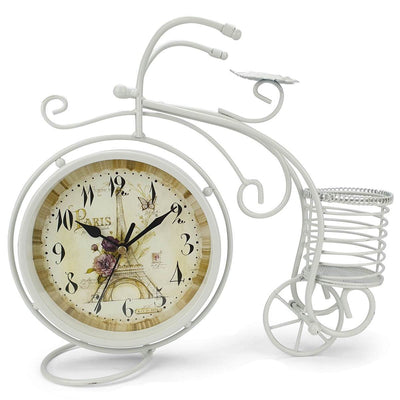 Victory Cullen Artistic Metal Bicycle Desk Clock White 32cm TAA 105W 3