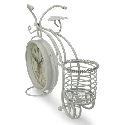 Victory Cullen Artistic Metal Bicycle Desk Clock White 32cm TAA 105W 7