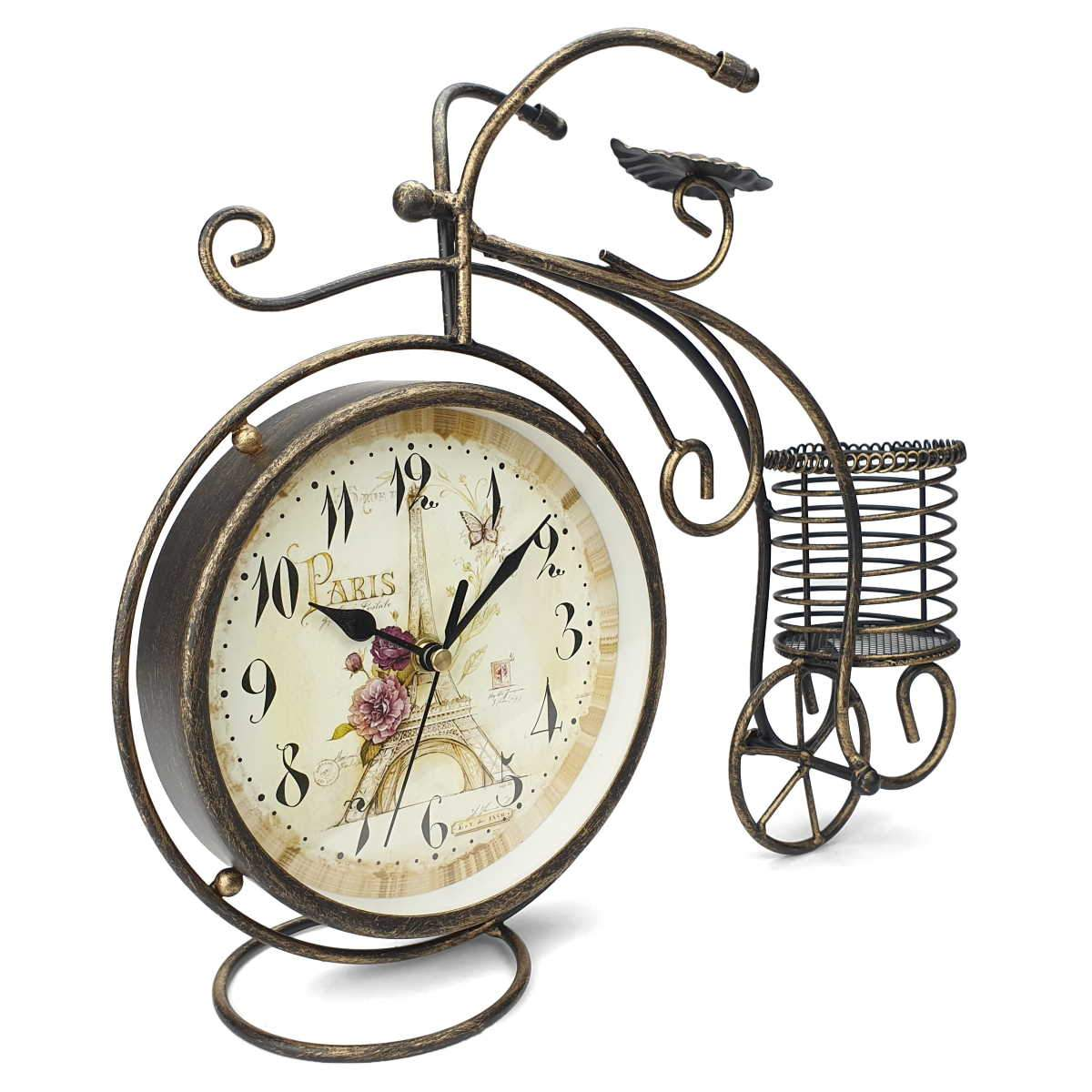 Victory Curtis Artistic Metal Bicycle Desk Clock Distressed Gold 32cm TAA 105B 1